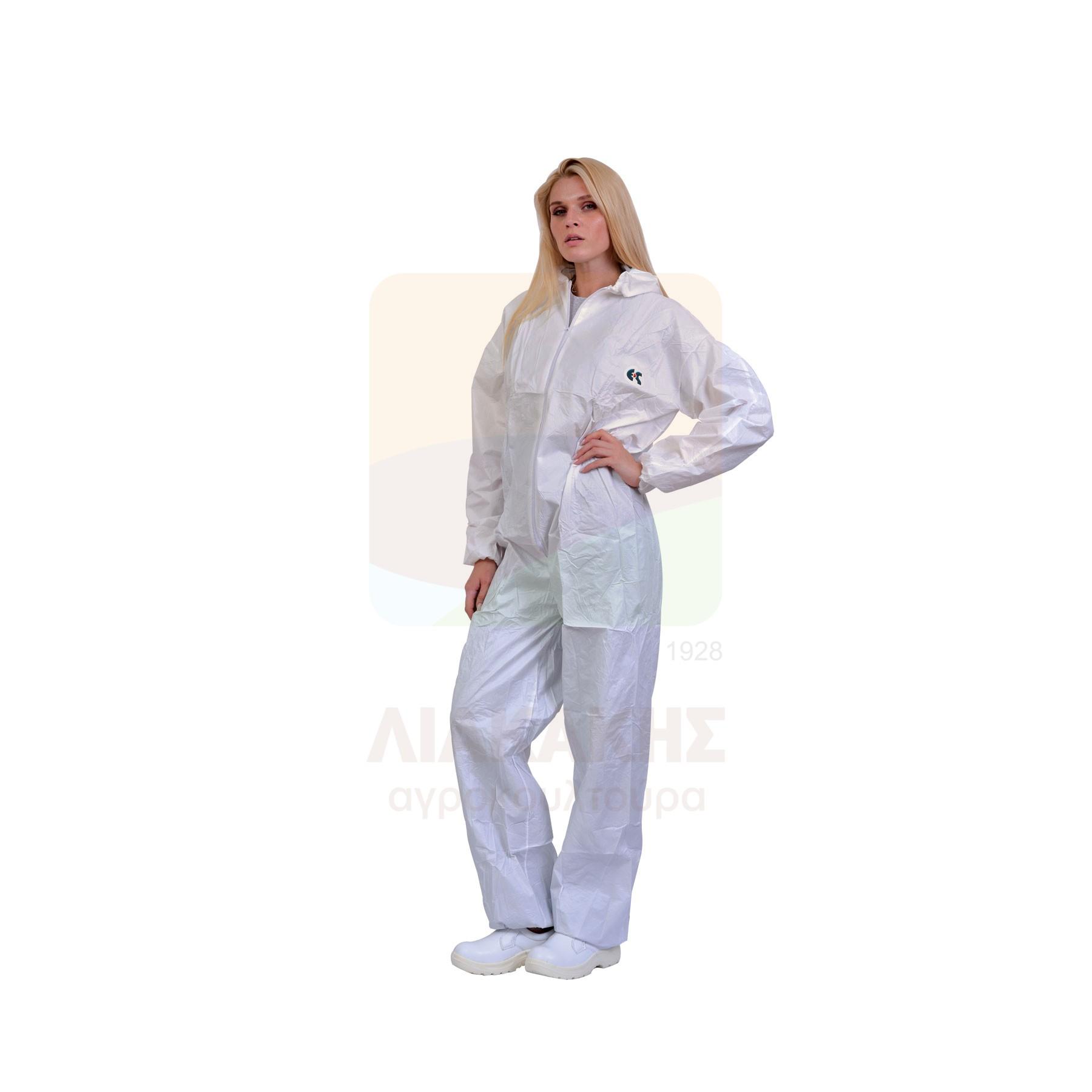 Στολή προστασίας μίας χρήσης με φερμουάρ και ενσωματωμένη κουκούλα