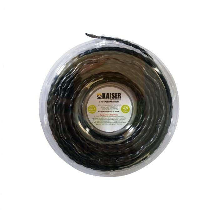 Μεσινέζα KAISER - Μαύρη Στριφτή 4.3mm - 22.1m | Made in USA