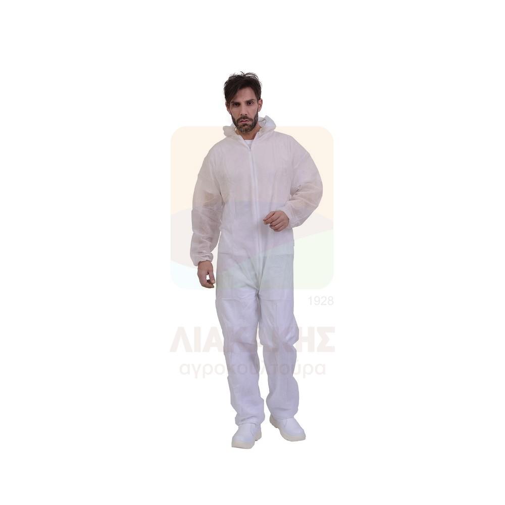 Φόρμα προστασίας μίας χρήσης με φερμουάρ και ενσωματωμένη κουκούλα PLP 40gr