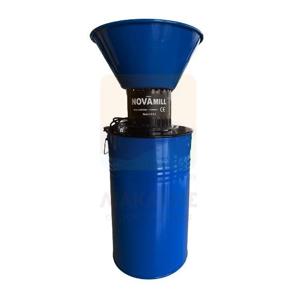 Μύλος ζωοτροφών ηλεκτρικός με δοχείο με 3 κόσκινα 2-4-8mm NOVA